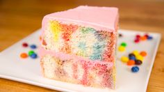 Skittles Poke Cake- how to make a Skittles flavoured cake in a collab with MyCupcakeAddiciton