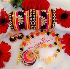 Silk Thread Bangles Design, Silk Bangles, Gold Bangles Design, Bridal Bangles, Thread Jewellery, Fabric Jewelry, Diy Jewelry, Beaded Jewelry, Beaded Necklace Patterns