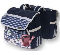 Basil Dutch Blue, double bicycle bag in navy blue
