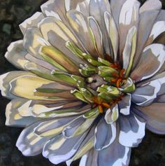 white zinnia--still looking for the artist; no longer on the hosting site