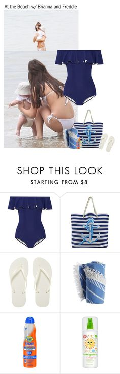 """At the Beach w/ Brianna and Freddie"" by kateremington-1 ❤ liked on Polyvore featuring Lisa Marie Fernandez, Havaianas and Banana Boat"