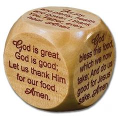 This small wooden prayer cube is a lovely way of choosing a grace before meals. Just 4 cm x 4 cm, it costs £2.99. - See more at: http://www.embraceme.org/shop/product/meal-time-grace-cube