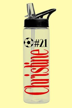 1 PERSONALIZED SPORTS PLASTIC WaTER Bottle with by BeVocalDesigns Sports Bottles, Game Ideas, Party Favors, Water Bottle, Basketball, Cricut, Plastic, Handmade Gifts, Etsy