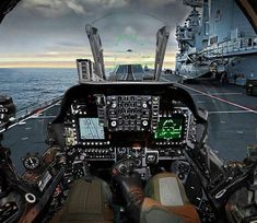 Pilot's view of the cockpit of a British Aerospace Harrier II of Royal Navy ready to take off from an aircraft carrier. Military Jets, Military Aircraft, Military Force, Fighter Aircraft, Fighter Jets, Fighter Pilot, British Aircraft Carrier, Hms Ark Royal, Flight Simulator Cockpit