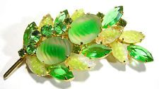 VINTAGE JULIANA RHINESTONE LAVA ROCK GIVRE GLASS GREEN YELLOW BROOCH PIN
