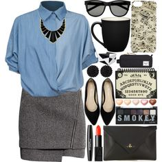 A fashion look from September 2014 featuring Chicnova Fashion blouses, H&M mini skirts and Vivienne Westwood clutches. Browse and shop related looks.