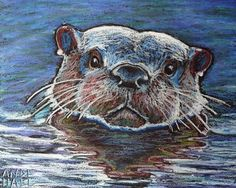 Oil pastel sketch of an otter - nice use of color & texture
