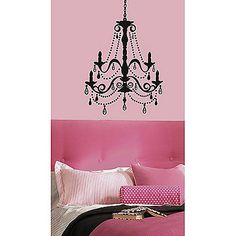 Add instant elegance to any room with the RoomMates Chandelier Wall Decal with Gems. Peel and stick the chandelier, then stick the gems to it however you'd like. The silhouette combined with the shining gems creates a glamorous look.