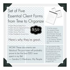 Set of five Essential Client Forms for Professional Organizers, including a client contract and assessment form.
