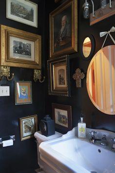 Bathroom gallery on black paint: Juan-Carretero-Bathroom-Lonny-via-DiCorcia-Interior-Design-NY-NJ