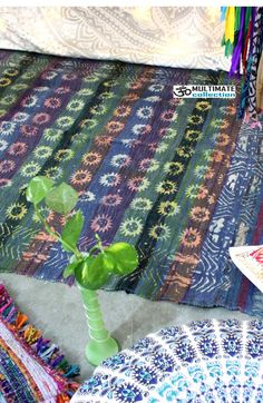 Hand Block Sun Printed Woven Chindi Rag Rug