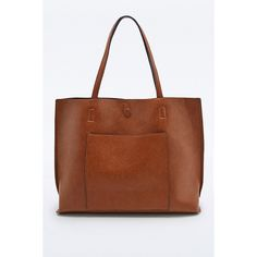 Reversible Vegan Leather Pocket Tote Bag in Tan and Black (€76) ❤ liked on Polyvore featuring bags, handbags, tote bags, brown, black purse, vegan tote, brown tote bag, oversized tote and reversible tote bag