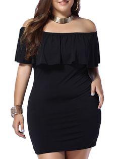 Brief Off-The-Shoulder Black Women's Bodycon Dress