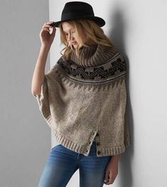 Heather Brown AEO Patterned Sweater Poncho