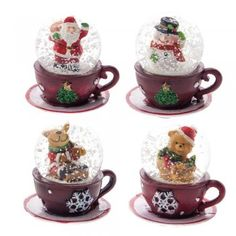 Mini Teacup Christmas Snow Globes