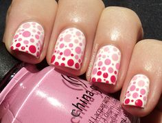 Dotted gradient nails using China Glaze - Snow, Something Sweet, Dance Baby & Fuchsia Fanatic.