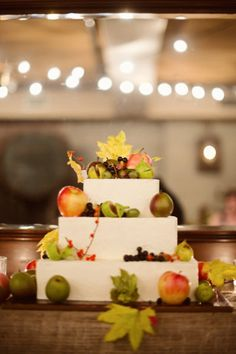 I like the fall feel of this cake, but not a fan of all the fruit. (This is the pic I liked best of what they gave me to choose from to get started, lol)