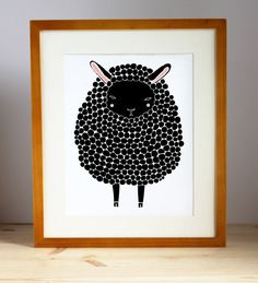 Black Sheep Illustration Nursery Art Children Deco by Gingiber-- sheep in 3 colors