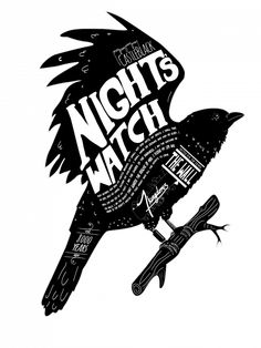night's watch crow (t-shirt design) by afternoon teelight
