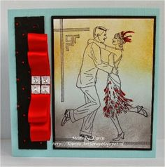 hand crafted card from KarinsArtScrap ... couple dancing the Charleston ... deco lines ...