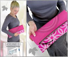 Fold-over, Zippered Clutch with Circular Decorative Stitching: Skyline S5