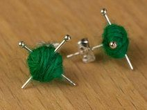 Knitting Ear studs - Green knit earrings