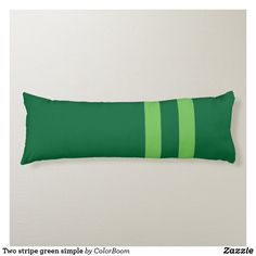 Two stripe green simple body pillow Green Cushions, Clover Green, Green Stripes, Emerald Green, Soft Fabrics, Primary Colors, Vibrant Colors, Dark, Simple