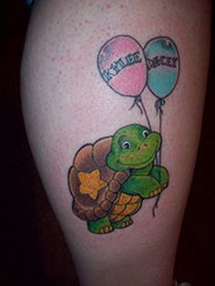 "Turtle Tattoo  ""My tattoo is of a turtle that I found in a kids' book. I decided on this design because I love turtles and I thought it would be neat to have my favorite animal with my two favorite people in the world – my kids. It reminds me of how much love my two kids give me, and how much fun they bring into my life. My tattoo reminds me of them.""    -- Amanda of Latrobe, Pennsylvania, mom to Kylee and Dacey"