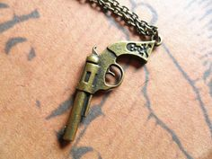 Steampunk GUN Necklace-- Minimalist miniature Small weapon charm pendant, antique bronze ,Sharpshooters gun jewelry, mens womens accessory