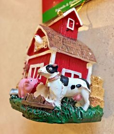 "NWT 6 DAIRY COW HOLSTEIN CALF WOOL 5/"" ORNAMENTS FARMHOUSE COUNTRY DECOR!"