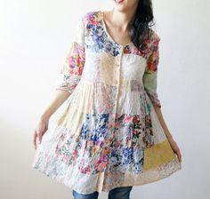 Vintage patchwork 70's 80's Fine Cotton  Hippie by DorisVintage