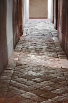 Hallway, Château de Moissac - Haute Provence - - Find More… My French Country Home, French Farmhouse, Farmhouse Style, Brick Floor Kitchen, Kitchen Flooring, Parquet Versailles, Haute Provence, Brick Flooring, French Chateau