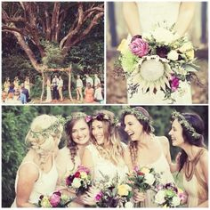 Bohemian Wedding  the flowers, bridesmaids not the tree more primitive to me  than bohemian