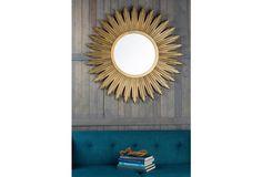 Round Silver Sunburst Wall Mirror 90 X 90 X 4cm Troon