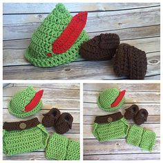 Crochet Peter Pan Hat, Diaper Cover, Leg Cuffs and Boots Pattern (PDF FILE)