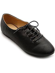 Ollio Women's Ballet Flat Shoe Lace Up Multi Color Oxford(6 B(M) US, Black) ❤ ...
