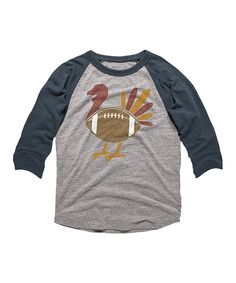 b58e8833f8 Gray Heather & Vintage Navy Football Turkey Raglan Tee - Toddler & Kids