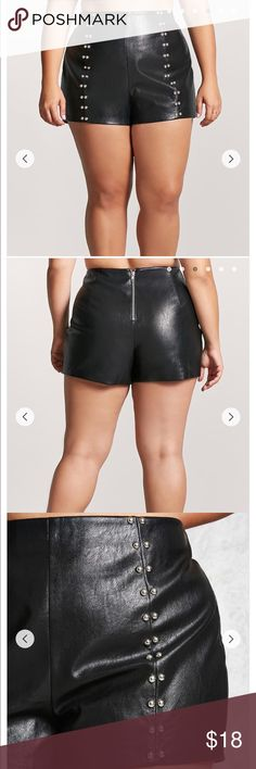 NWOT {Forever 21} Plus Size Shorts Faux Leather Shorts - Shell: 87% rayon, 13% polyester  - Coating: 100% polyurethane  - Hand wash cold  - Made in China Forever 21 Shorts Skorts