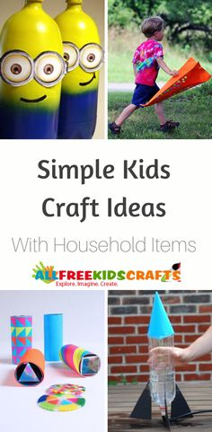 Don't break the bank on expensive crafts for kids. Get creative with your recycling bin and these 54 Kids Activities and Easy Kids Crafts from Household Items. Easy Preschool Crafts, Yarn Crafts For Kids, Easy Toddler Crafts, Preschool Art Activities, Recycled Crafts Kids, Paper Plate Crafts For Kids, Christmas Crafts For Toddlers, Valentine Crafts For Kids, Summer Crafts For Kids