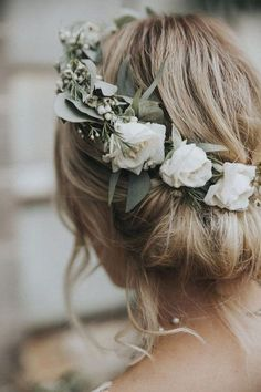 updo wedding hairstyle with white and greenery floral crown hairstyles with crown 20 Gorgeous Wedding Hairstyles with Flowers for Fall - Oh Best Day Ever Elegant Wedding Hair, Wedding Hair And Makeup, Wedding Updo, Hair Makeup, Boho Wedding, Wedding Shoes, Perfect Wedding, Wedding Ceremony, Wedding Ideas