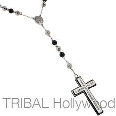 BLING SANCTUARY CZ Studded Steel Cross Mens Rosary Bead Necklace
