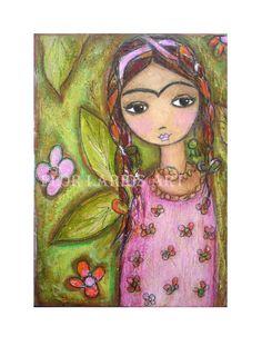 Frida y su Jardin  Folk Art  Print from Painting 5 x by FlorLarios, $15.00