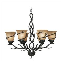 Add lodge-chic style to your entryway or den with this 6-light chandelier, featuring amber glass diffusers wrapped with bronze-finished twigs.