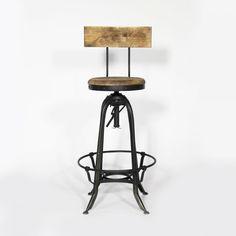Tabouret de Bar avec Dossier Metal et Bois Industry Chaise De Bar Industriel,  Tabouret Industriel a43b7a11e669