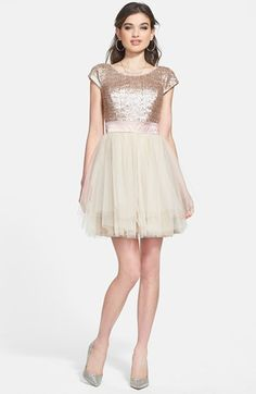 Trixxi Sequin & Tulle Party Dress (Juniors) available at #Nordstrom
