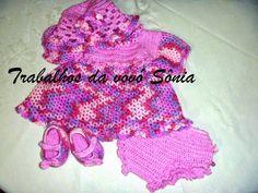 Trabalhos da vovó Sônia: Conjunto para bebê vestido rosa mescla - crochê