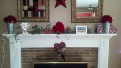 Mantle decorated for Valentine's day :)