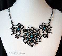Yarnplayer's Tatting Blog: Nouveau tatted necklace in black with aqua beads