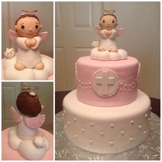 I like the Angel idea for the baptism cake. Would be so cute if the angel was holding a rosary coming down the cake Baby Cakes, Girl Cakes, Baby Shower Cakes, Pretty Cakes, Cute Cakes, Beautiful Cakes, Torta Angel, Angel Cake, First Holy Communion Cake