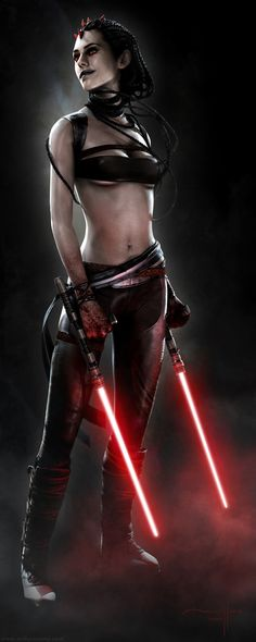Sith warrior with lightsaber tonfa. By Manny Llamas.